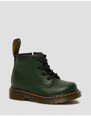 INFANT 1460 LEATHER LACE UP BOOTS - DMS GREEN ROMARIO