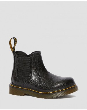 Black Friday Sale Dr. Martens TODDLER 2976 CRINKLE METALLIC CHELSEA BOOTS - BLACK CRINKLE METALLIC