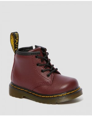 Black Friday Sale Dr. Martens INFANT 1460 SOFTY T LEATHER LACE UP BOOTS - CHERRY RED SOFTY T