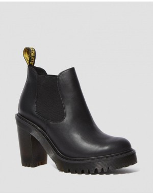 Dr.Martens HURSTON WOMEN'S LEATHER HEELED CHELSEA BOOTS - BLACK SENDAL - Sale