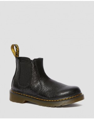 Dr.Martens JUNIOR 2976 CRINKLE METALLIC CHELSEA BOOTS - BLACK CRINKLE METALLIC - Sale