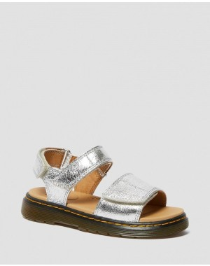 Dr.Martens JUNIOR ROMI METALLIC LEATHER SANDALS - SILVER CRINKLE METALLIC - Sale