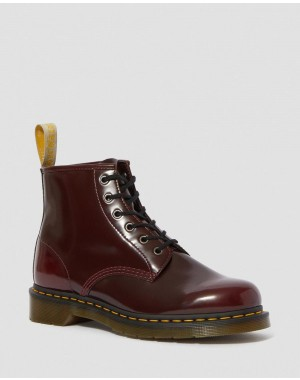 Dr.Martens VEGAN 101 ANKLE BOOTS - CHERRY RED OXFORD RUB OFF - Sale