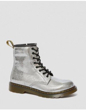 Dr.Martens YOUTH 1460 CRINKLE METALLIC LACE UP BOOTS - SILVER CRINKLE METALLIC - Sale