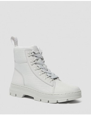 Black Friday Sale Dr. Martens COMBS WOMEN'S POLY CASUAL BOOTS - LIGHT GREY AJAX+EXTRA TOUGH POLY