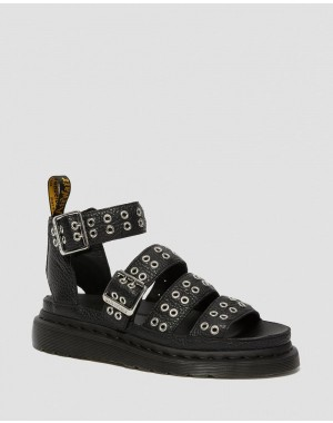 Dr.Martens CLARISSA II WOMEN'S LEATHER BUCKLE SANDALS - BLACK AUNT SALLY - Sale