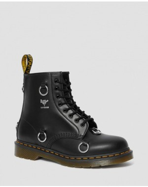 1460 RAF SIMONS SMOOTH LEATHER LACE UP BOOTS - BLACK SMOOTH