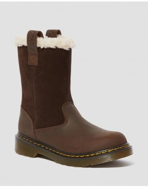 Dr.Martens JUNIOR JUNEY SUEDE FAUX FUR LINED BOOTS - DARK BROWN REPUBLIC WP+HI SUEDE WP - Sale