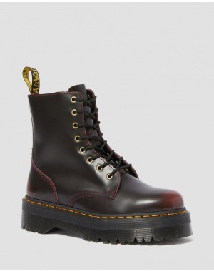 Black Friday Sale Dr. Martens JADON ARCADIA LEATHER PLATFORM BOOTS - CHERRY RED ARCADIA