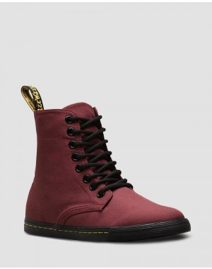 Black Friday Sale Dr. Martens JUNIOR SHERIDAN CANVAS CASUAL BOOTS - CHERRY RED T CANVAS