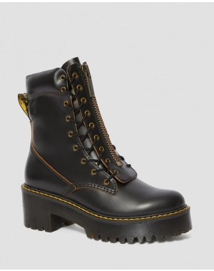 Dr.Martens KARMILLA WOMEN'S SMOOTH LEATHER HEELED BOOTS - BLACK VINTAGE SMOOTH - Sale