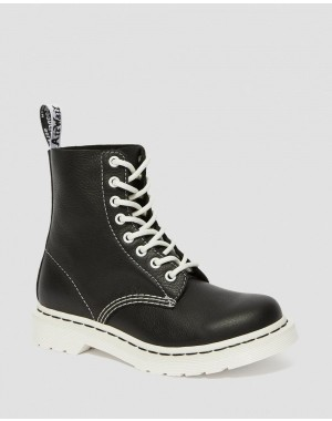 Black Friday Sale Dr. Martens 1460 PASCAL VIRGINIA WOMEN'S BLACK & WHITE UP BOOTS - BLACK VIRGINIA