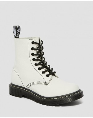 Dr.Martens 1460 PASCAL VIRGINIA WOMEN'S BLACK & WHITE UP BOOTS - OPTICAL WHITE VIRGINIA - Sale