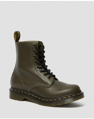 Black Friday Sale Dr. Martens 1460 PASCAL WOMEN'S WANAMA LEATHER BOOTS - DMS OLIVE WANAMA