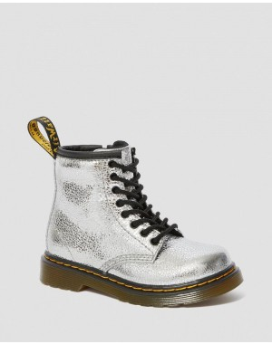 Black Friday Sale Dr. Martens TODDLER 1460 CRINKLE METALLIC LACE UP BOOTS - SILVER CRINKLE METALLIC