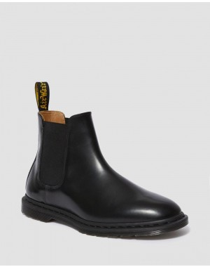 Black Friday Sale Dr. Martens GRAEME II MEN'S SMOOTH LEATHER CHELSEA BOOTS - BLACK POLISHED SMOOTH