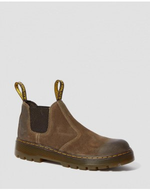 Dr.Martens HARDIE SUEDE CHELSEA WORK BOOTS - DARK BROWN WAXY SUEDE WATERPROOF - Sale