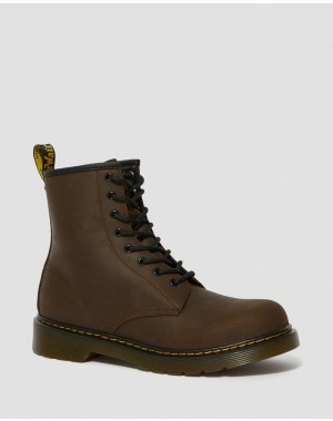 Dr.Martens YOUTH 1460 FAUX FUR LINED LACE UP BOOTS - DARK BROWN MOHAWK - Sale