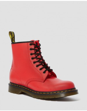 1460 SMOOTH LEATHER LACE UP BOOTS - RED  SMOOTH
