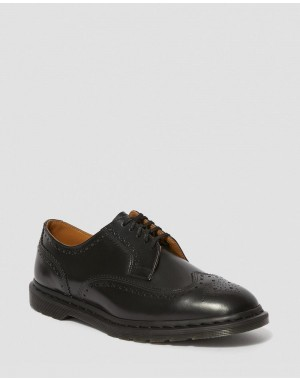 KELVIN II SMOOTH LEATHER BROGUE SHOES - BLACK POLISHED SMOOTH