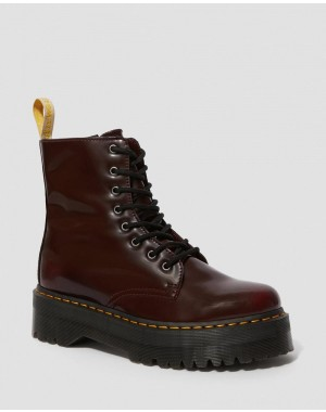 Black Friday Sale Dr. Martens VEGAN JADON II PLATFORM BOOTS - CHERRY RED OXFORD RUB OFF