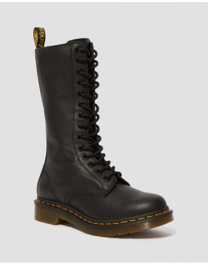 Black Friday Sale Dr. Martens 1B99 VIRGINIA LEATHER KNEE HIGH BOOTS - BLACK VIRGINIA