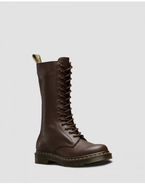 Black Friday Sale Dr. Martens 1B99 VIRGINIA LEATHER KNEE HIGH BOOTS - DARK BROWN VIRGINIA