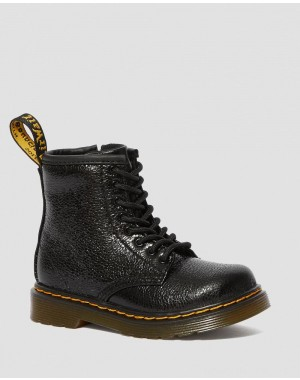 Dr.Martens TODDLER 1460 CRINKLE METALLIC LACE UP BOOTS - BLACK CRINKLE METALLIC - Sale