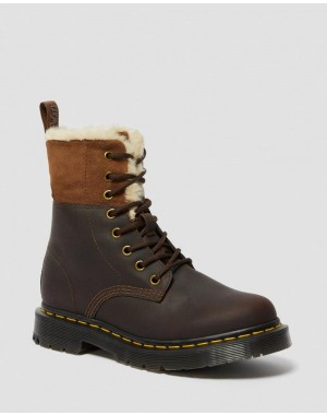 Black Friday Sale Dr. Martens 1460 WOMEN'S DM'S WINTERGRIP FAUX FUR LINED BOOTS - DARK BROWN SNOWPLOW WAXY WATER RESISTANT SUEDE
