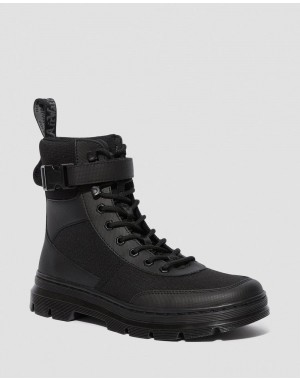 Black Friday Sale Dr. Martens COMBS TECH POLY CASUAL BOOTS - BLACK ELEMENT-POLY RIP STOP