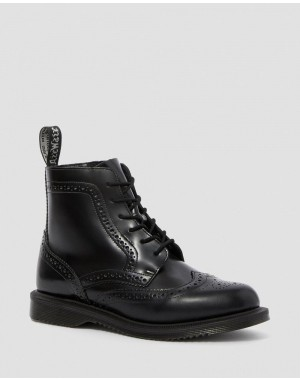 Black Friday Sale Dr. Martens DELPHINE SMOOTH WOMEN'S DRESS BOOTS - BLACK POLISHED SMOOTH