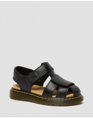Black Friday Sale Dr. Martens TODDLER MOBY II LEATHER VELCRO SANDALS - BLACK T LAMPER
