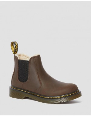 Dr.Martens JUNIOR 2976 FAUX FUR LINED CHELSEA BOOTS - DARK BROWN REPUBLIC WP - Sale