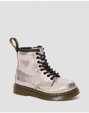 Dr.Martens TODDLER 1460 CRINKLE METALLIC LACE UP BOOTS - PINK SALT CRINKLE METALLIC - Sale