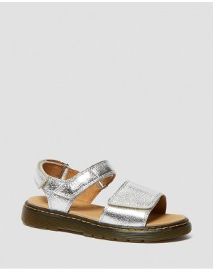 YOUTH ROMI METALLIC LEATHER VELCRO SANDALS - SILVER CRINKLE METALLIC