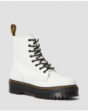 Black Friday Sale Dr. Martens JADON SMOOTH LEATHER PLATFORM BOOTS - WHITE POLISHED SMOOTH