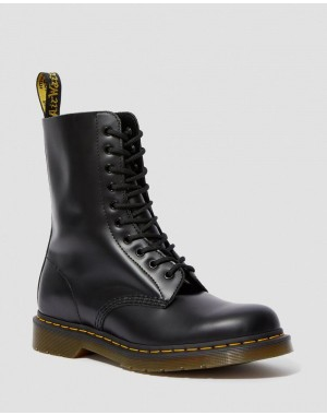 Black Friday Sale Dr. Martens 1490 SMOOTH LEATHER MID CALF BOOTS - BLACK SMOOTH