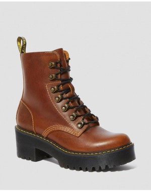 Dr.Martens LEONA WOMEN'S ORLEANS LEATHER HEELED BOOTS - BUTTERSCOTCH ORLEANS WP - Sale
