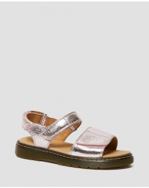 Dr.Martens YOUTH ROMI METALLIC LEATHER VELCRO SANDALS - PINK SALT CRINKLE METALLIC - Sale