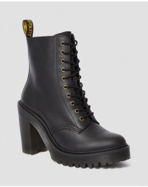 Dr.Martens KENDRA WOMEN'S LEATHER HEELED BOOTS - BLACK SENDAL - Sale