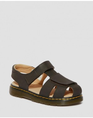 Black Friday Sale Dr. Martens JUNIOR MOBY II WILDHORSE LEATHER SANDALS - GAUCHO WILDHORSE LAMPER