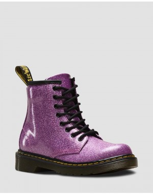 Dr.Martens JUNIOR 1460 GLITTER LACE UP BOOTS - DARK PINK COATED GLITTER - Sale