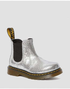 Black Friday Sale Dr. Martens TODDLER 2976 CRINKLE METALLIC CHELSEA BOOTS - SILVER CRINKLE METALLIC