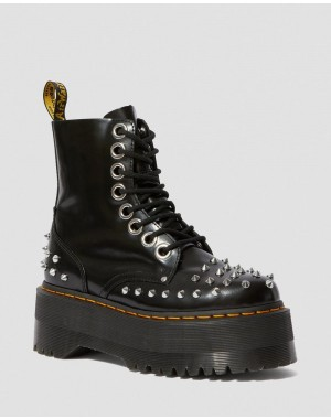 Black Friday Sale Dr. Martens JADON MAX WOMEN'S STUDDED PLATFORM BOOTS - BLACK BUTTERO
