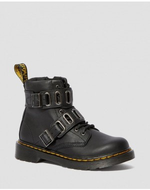 Dr.Martens JUNIOR 1460 LEATHER BUCKLE BOOTS - BLACK ROMARIO - Sale