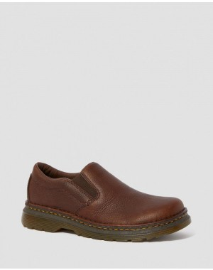 Dr.Martens BOYLE MEN'S GRIZZLY LEATHER SLIP ON SHOES - DARK BROWN GRIZZLY - Sale