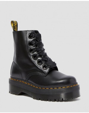 Black Friday Sale Dr. Martens MOLLY WOMEN'S LEATHER PLATFORM BOOTS - BLACK BUTTERO