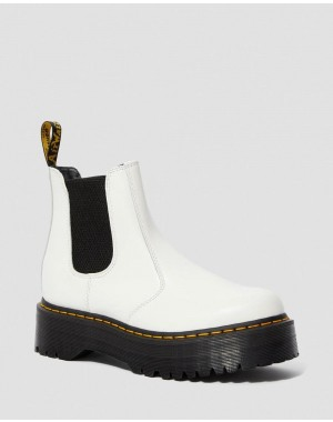 Dr.Martens 2976 SMOOTH LEATHER PLATFORM CHELSEA BOOTS - WHITE SMOOTH - Sale