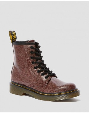 Black Friday Sale Dr. Martens JUNIOR 1460 GLITTER LACE UP BOOTS - ROSE BROWN COATED GLITTER