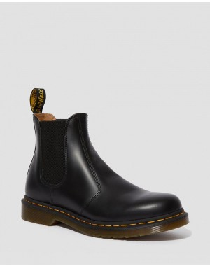 Black Friday Sale Dr. Martens 2976 YELLOW STICH SMOOTH LEATHER CHELSEA BOOTS - BLACK SMOOTH